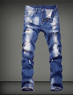 Men S Mid Rise Micro Elastic Jeans Pants Street Chic Loose Solid Usd 26 99 Jeans Blancos Hombre Ropa De Hombre Jeans Para Hombre