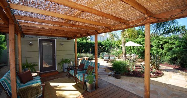 cool idea for pergola cover, and I love the wood decking vs.