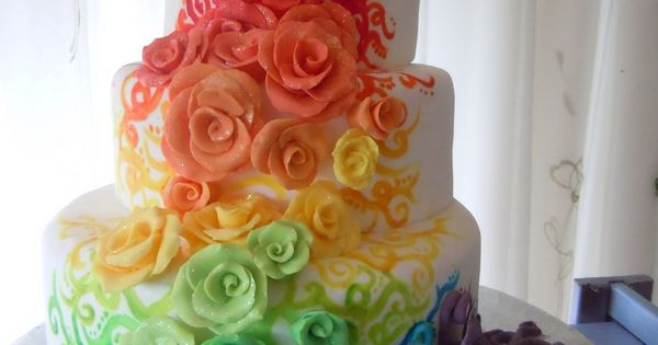 Rainbow Rose Cake! My future wedding cake:)