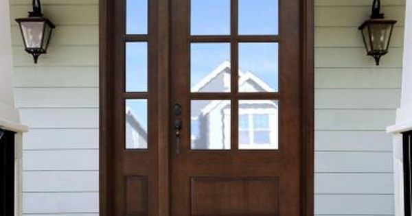 Steves Sons Savannah 6 Lite Stained Mahogany Wood Prehung Front Door With Sidelite M6410 1230 Ct 4i Stained Front Door House Front Door Front Door Sidelights
