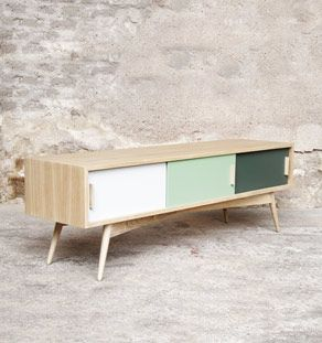 Meuble Bas Tv Style Vintage Fabrique En France Sur Mesure Mobilier De Salon Meuble Bas Decor De Television