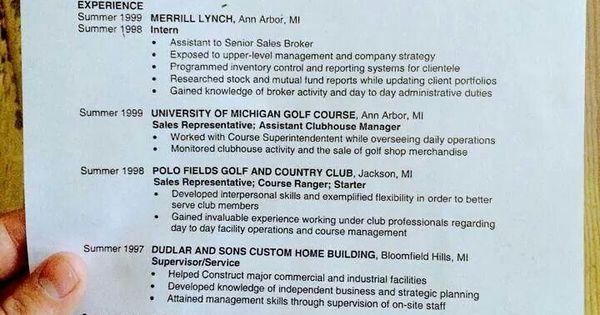 An old resume OH Tom Brady! Pinterest Tom brady - park ranger resume