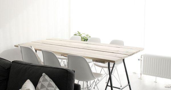 Scandinavische tafel moderne tafel steigerhouten tafel tafel met schragen ikea eames - Scandinavische cocktail tafel ...