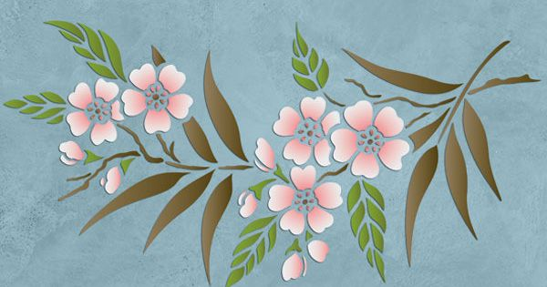 Classic wall art stencils for asian decor and oriental design cherry blossom flower stencils - Oriental stencils for walls ...