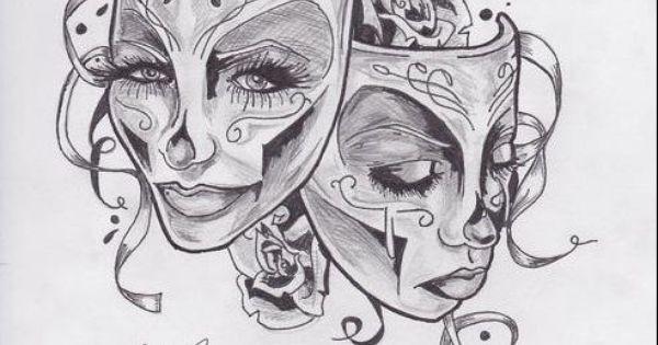 Skull Drama Face Tattoo: Feminine Theater Masks