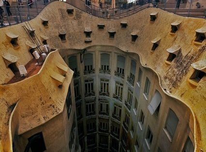 Art Nouveau: atrium - La Pedrera/ Casa Mila. Antoni Gaudi. Barcelona, Spain.