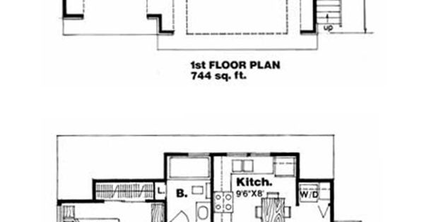 Garage apartment plan 94342 total living area 560 sq for 110 square feet room