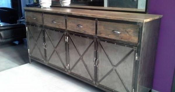meuble industriel buffet acier et bois buffet de f234te