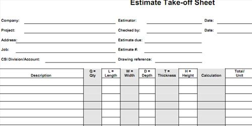 Quantity Take Off Sheets Http Www Quantity Takeoff Com Quantity Take Off Sheets Htm Cost Sheet Estimate Construction Estimating Software