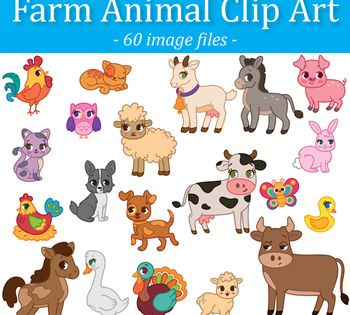 This Adorable Farm Animals Clip Art Set Will Look Beautiful On Your Worksheets Printable Activities And More This Set Includ Clip Art Farm Animals Farm Theme