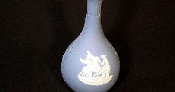Sold Cuuute Wedgewood Jasperware White On Blue Bud Vase Jasperware Wedgwood Blue