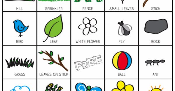 outside bingo printable inspired by the garden classroom. Black Bedroom Furniture Sets. Home Design Ideas
