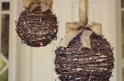 lit twig globe for outdoor christmas decor via Pottery Barn...