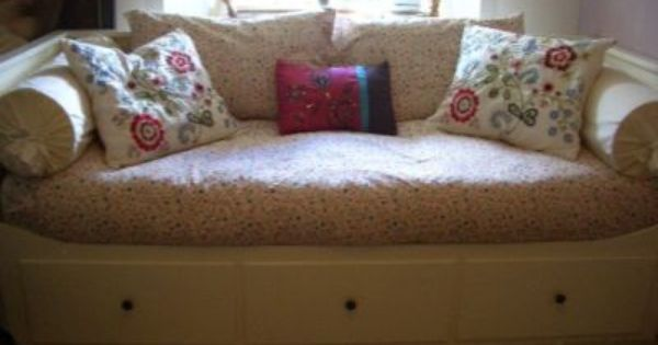 Love The Round Pillows On The Sides Ikea Hemnes Daybed Ikea Hemnes Bed Furniture Delivery