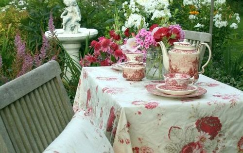 Secret Garden tea party - I already have these linens ready.