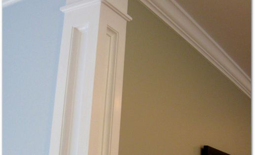 build a faux column at corners to separate wall colors. Living room