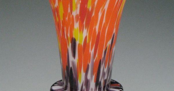vintage czech art deco spatter end of day glass ruckl welz geometric vase  czechglass  artdeco
