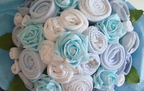 Hand-Made Luxury Baby Boy Bouquet - Made with Real Baby Clothes -