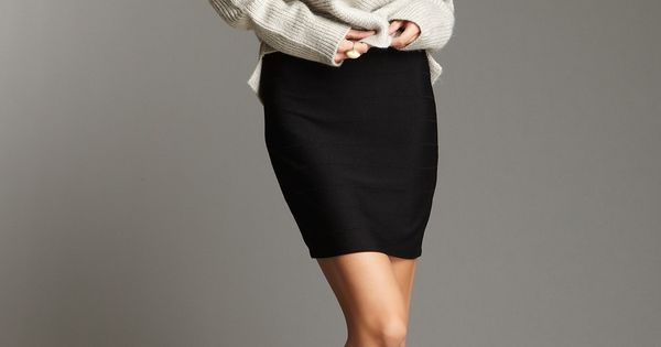 Fitted skirt and cozy sweater