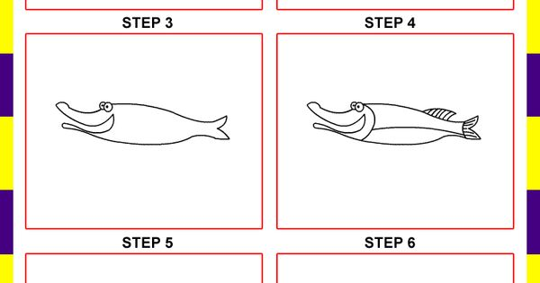 how to draw a cartoon fish step by step