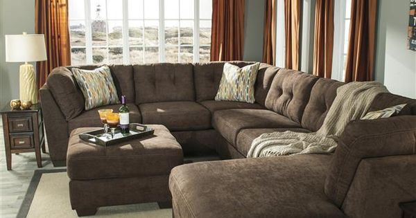 Oversized Sectional Delta City Brown Microfiber
