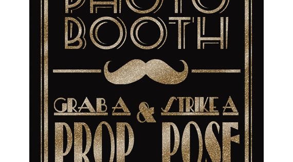 Printable Photo Booth -Art Deco/Great Gatsby/1920's wedding theme - instant download digital