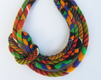 Red African jewelry Knot  Fabric Colorful Light Weight Necklace