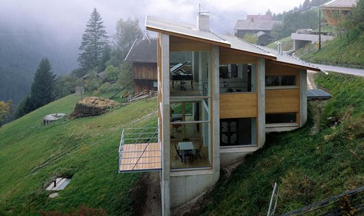 This house is located on the steep slopes of Austria 4,365 feet
