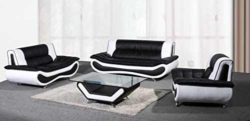 Beverly Furniture 3piece Blackwhite Contemporary Bonded Leather Living Room Sofa Set Visit The Image Link More Details N Leather Sofa Set Living Room Sets Leather Sofa