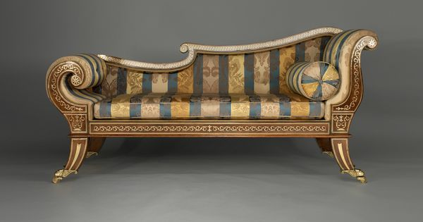 An english regency rosewood chaise longue for Chaise longue in english