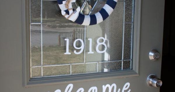 Cute house numbers and welcome sign on front door making for Front door number plaques