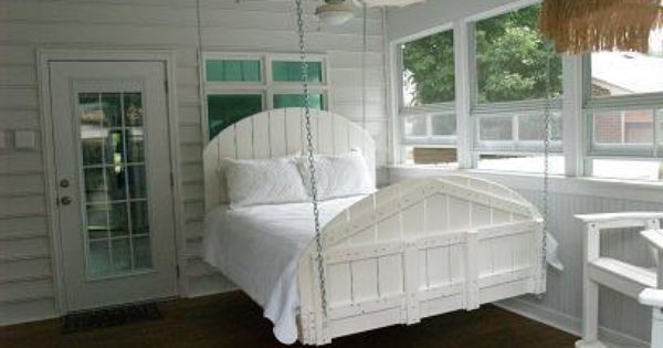 Screened in sleeping porch. Especially like the idea of the hanging bed.