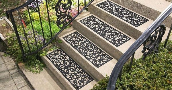 Best Set Of 4 Butterfly Scroll Pattern Black Rubber Outdoor 640 x 480