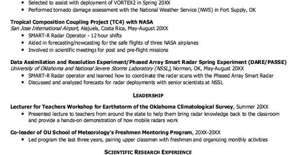 Meteorology Graduate School Resume