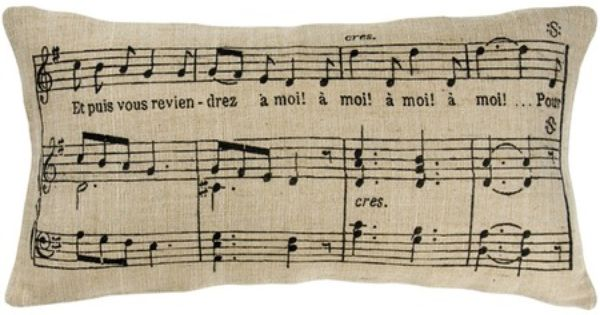 11x21 Jute Burlap Pillow Cover with Insert - Music Notes