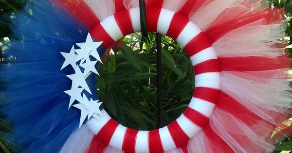 4th of July Tulle Wreath - Red, White, & Blue Flag