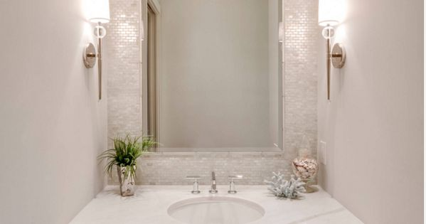 Beautiful Bathroom Ideas From Pearl Baths: Mother Of Pearl Tile Accent In Powder Bath