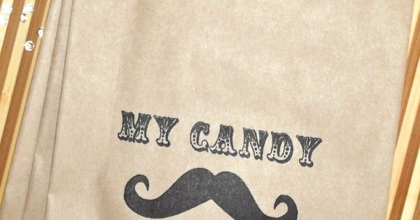 mustache themed candy bag