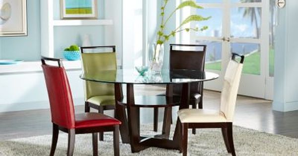 Ciara Espresso 5 Pc Dining Set With Red Chairs Dining Room Sets Dark Wood Round Dining Room Sets Dining Room Sets Rooms To Go Furniture