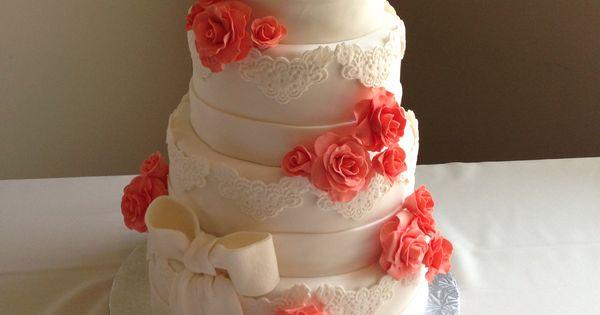 Pinterest Wedding Cakes: Wedding Cake - Coral Roses & Lace