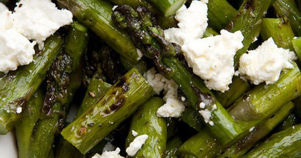Grilled asparagus feta lemon zest olive oil- summer side. dinner veggies recipes