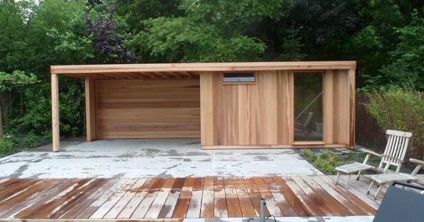 Tuinhuis met luifel loungestoelen lounge plek strak modern ontwerp staande delen western red - Luifel ontwerp voor patio ...