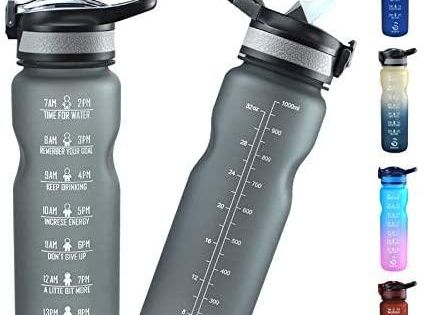 Sodeno Leakproof Drinking Water Bottle with Straw/&Time Marker 32oz Motivational Fitness Sports Water Bottle BPA Free Non-Toxic for Men Women Adults Gym Indoor and Outdoor Sports
