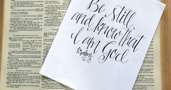 Handwritten Hand Lettered Calligraphy Psalm 46:10