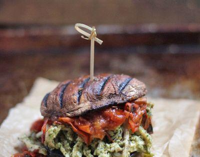Pulled Pesto Chicken Burger on a Portobello Bun with Fire ...