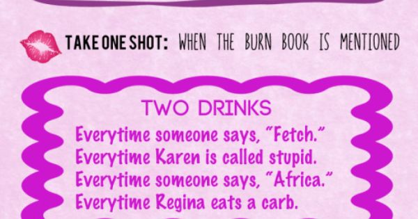 Mean girls drinking game, Mean girls and Drinking games on Pinterest