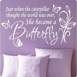 Wall Quotes For Girls Rooms Vinyl Wall Quotes Butterfly Nursery Purple Bedroom Decor