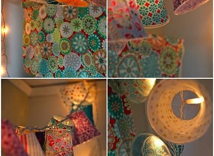 Rebeccas DIY:* Lamp shades on a string cover plastic cups with fabric
