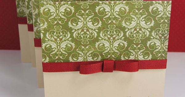 Holiday Christmas Cards Olive Damask Bordeaux Ribbon Gold Seasons Greetings Set of