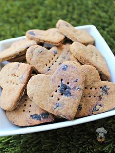 Wheat And Dairy Free Peanut Butter Blueberry Dog Treat Biscuit
